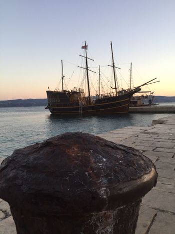 Sea Water Nautical Vessel Nature No People Beauty In Nature Outdoors Sunset Moored Sky Scenics Mode Of Transport Tranquility Rock - Object Transportation Horizon Over Water Beach Day Mast Ship Omis Croatia Croatia