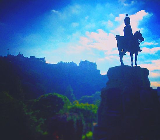 Edinburgh Castle Scotland Princes Street Gardens Royal Scots Greys Monument