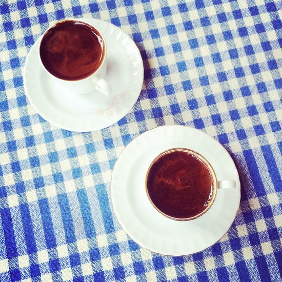 Turkish coffee for two. Istanbul, Turkey. Photo by Tom Bland. Tablecloth Food And Drink Checked Pattern Coffee Drink Coffees Turkish Coffee Cafe Caffeine Refreshment Blue Indoors  IPhoneography IPhone Above Overhead View Coffee Culture Cup Of Coffee Black Coffee Delicious Cafe Time Istanbul Turkey High Angle View Table