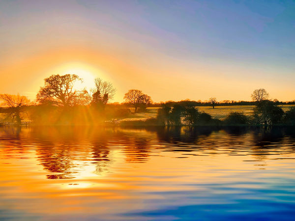 Bright sun landscape Sky Water Sunset Reflection Beauty In Nature Scenics - Nature Tree Lake Orange Color Tranquility Tranquil Scene Plant Nature Waterfront No People Idyllic Non-urban Scene Silhouette Cloud - Sky Outdoors