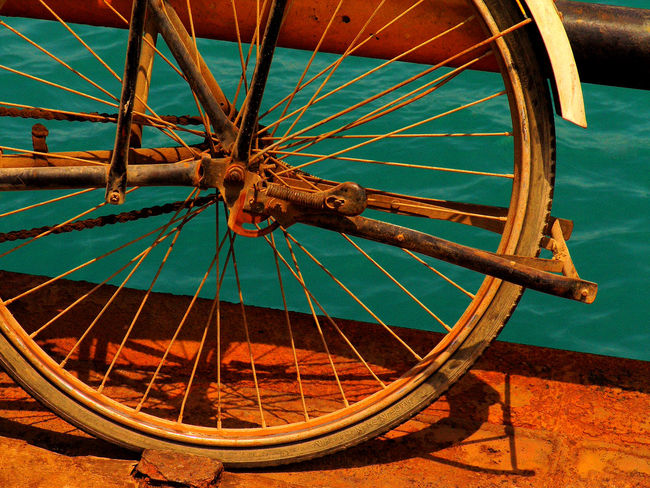 Bicycle Close-up Day Land Vehicle Mode Of Transport No People Old-fashioned Outdoors Rusty Bicycle At Shipyard Spoke Stationary Tire Transportation Vehicle Part Wheel