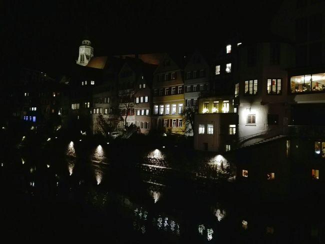 Tübingen at night Tübingen River Reflection Light Lamp Illuminated Night Illuminated Reflection No People Building Exterior Outdoors Nightlife Water Architecture City Sky