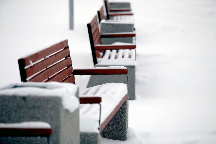 Empty chairs and tables in winter