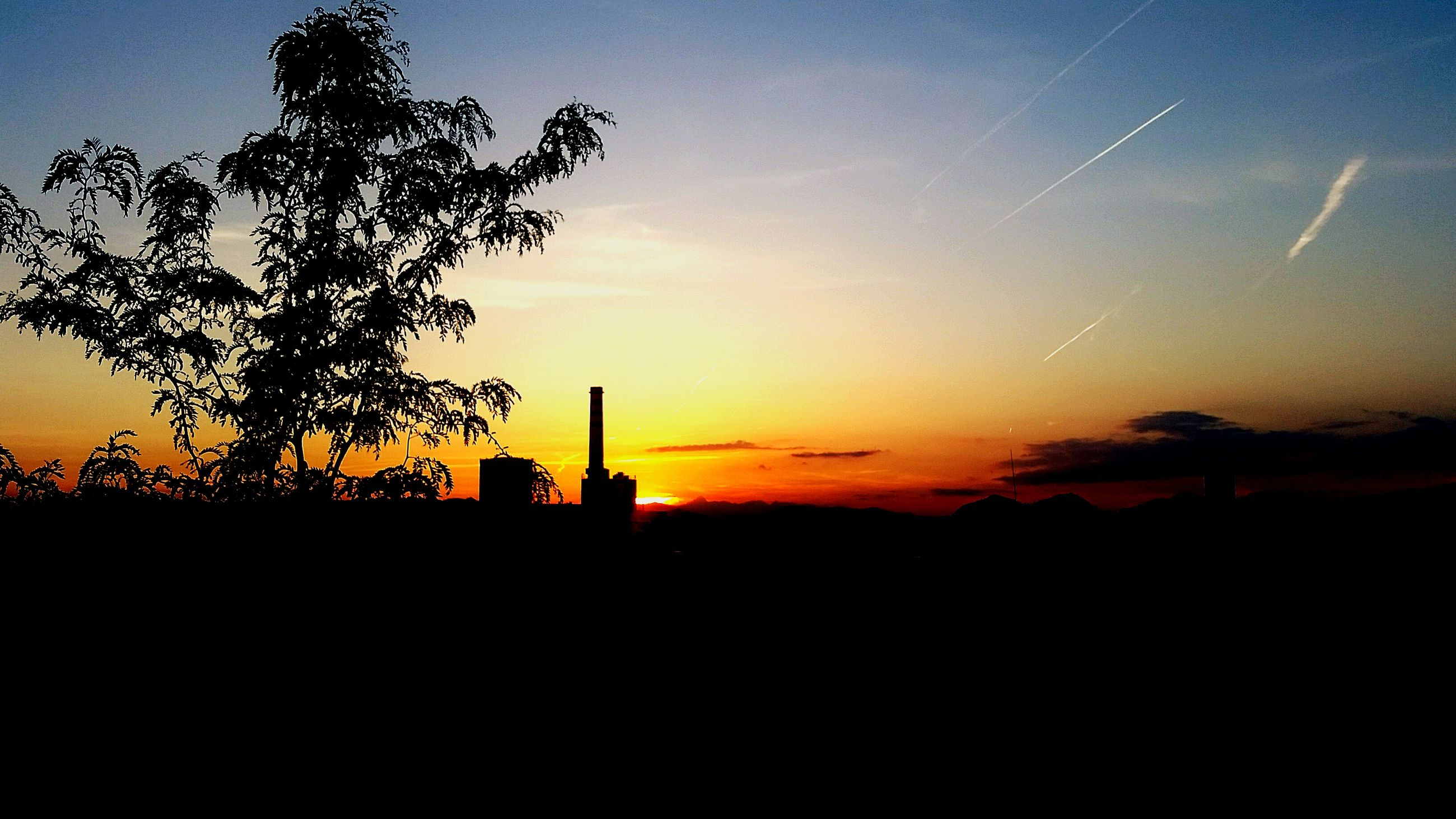 silhouette, sunset, tree, scenics, beauty in nature, sky, tranquility, orange color, tranquil scene, copy space, landscape, nature, dark, built structure, outline, architecture, idyllic, building exterior, field, dusk