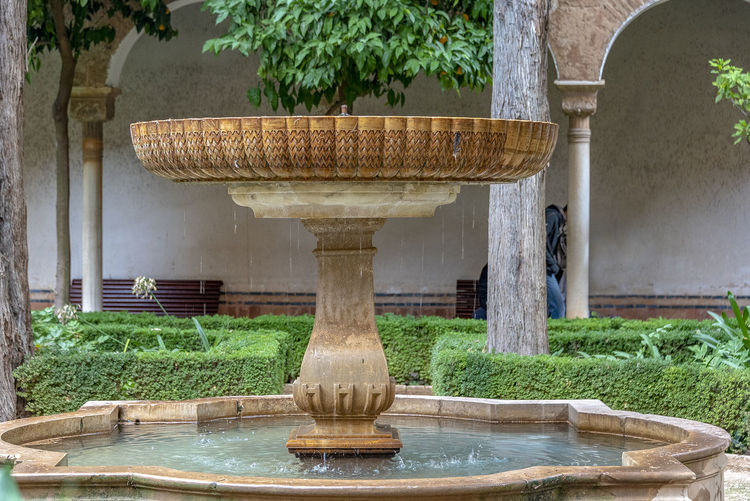 interior of Alhambra, Granada, Spain Alhambra Alhambra De Granada  Interior Spain Architecture SPAIN Arabic Style Plant Architecture Built Structure Tree Water Nature Day No People Architectural Column Growth Outdoors Fountain Grass Green Color Front Or Back Yard Building Exterior Park History The Past Well