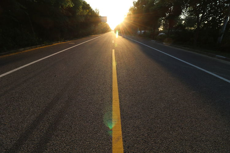 Lens Flare Road The Way Forward Sun Sunset Sunlight Tree Outdoors No People Day Sky Nature Tree Field China View China
