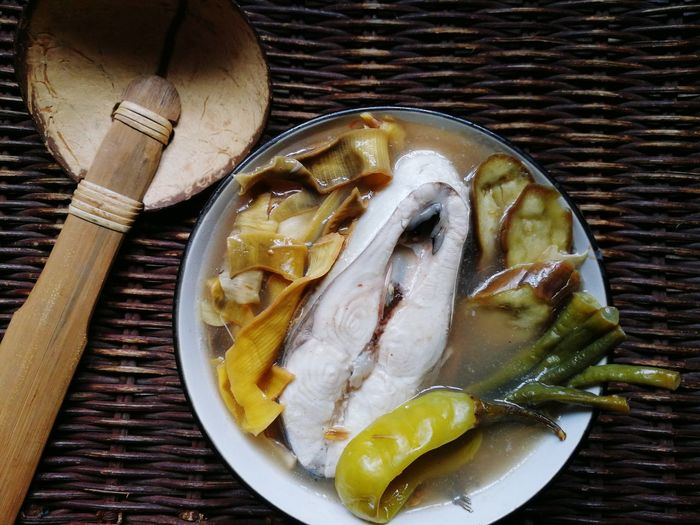 Milk Fish Sinigang 02 | Food And Drink Indoors  High Angle View Plate No People Directly Above Preparation  Food Studio Shot Close-up Healthy Eating Freshness Day Fish Recipe Bangus Milk Fish Filipino Food Philippines Ready-to-eat Fish Freshness Table Seafood