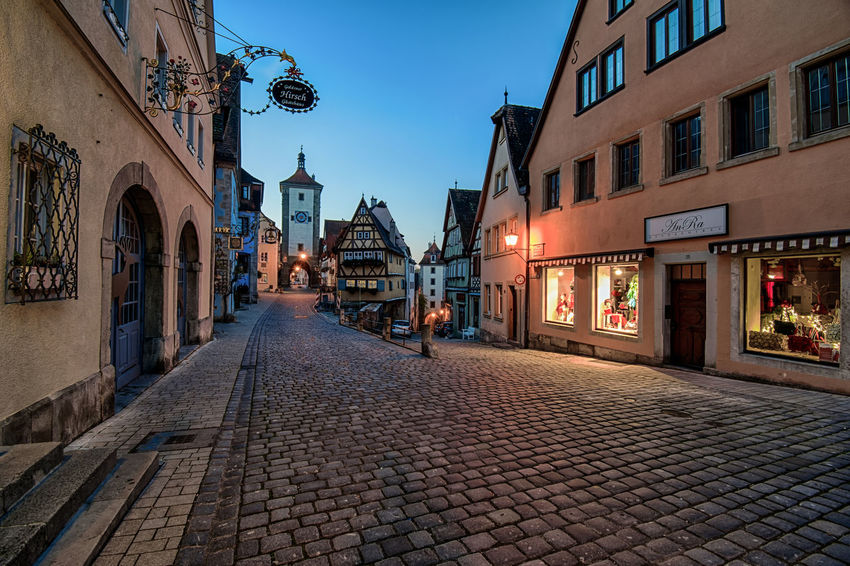 Outdoors No People City Street City Cityscape Travel Destinations Cobblestone Deutschland Rothenburg Ob Der Tauber Long Exposure TOWNSCAPE Village Night Photography Night Lights Europe Architecture_collection European Architecture Illuminated Architecture Bavaria Building Exterior Full Frame Street Street Photography Street Light