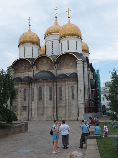 Cathedral of the Dormition (1475-1479) Building Cathedral Church City Composition Crosses Day Façade Gold Domes Historic History Incidental People Kremlin Moscow Outdoors Religion Russia Tourist Attraction  Trees White Clouds