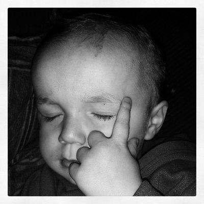 Tatum fell asleep thinking... lol Too cute!