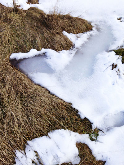 High angle view of snow field