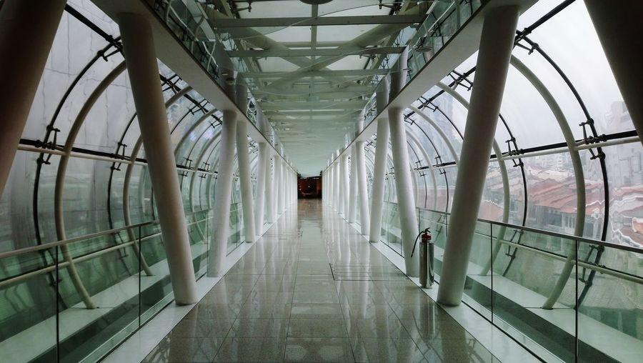 Interior of modern building walkway