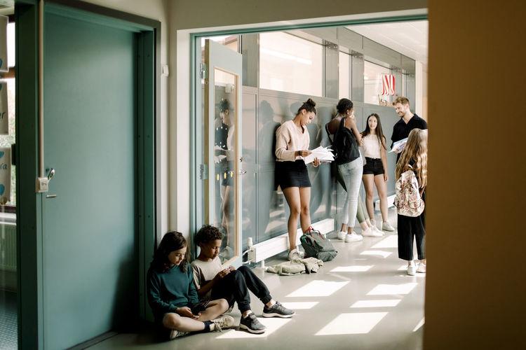 Group of people in corridor