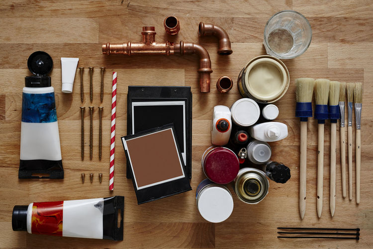 Arrangement Art And Craft Choice Container Directly Above Food And Drink Group Of Objects High Angle View Indoors  Large Group Of Objects Make-up Man Made Man Made Object Nail Nail Polish No People Preparation  Still Life Table Variation Wood - Material