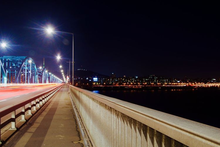 Architecture Bridge - Man Made Structure Built Structure City City Life City Street Cityscape Connection Illuminated Light Trail Long Exposure Night No People Outdoors Road Sky Speed Street Light Transportation