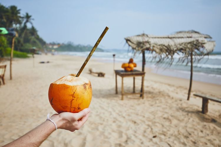 Hand of young man holding coconut with bamboo straw. Refreshment on the beach. Coconut Coconut Water Drink Refreshment Freshness Enjoyment Thirsty  Thirst Beach Human Hand Hand Food And Drink Holding Sand Sea Nature One Person Real People Water Healthy Eating Bamboo Straw Drinking Vacations Relaxing Straw