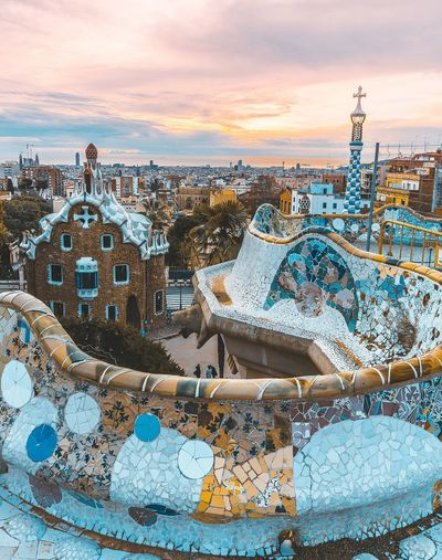 Parc guell Barcelona Bcn Arquitecture Arquitectura Arquitetura ArquiteturaeUrbanismo Urban Skyline Cityscape Urbanphotography Amanecer Clouds And Sky Sunrise Sunset_collection City Life Cities Parcguell Gaudi Gaudì Architecture Work Sunset Beach Sea Outdoors Cloud - Sky No People Horizon Over Water Travel Destinations Landscape Nature City Low Tide Colour Your Horizn
