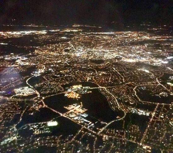 Night City Cityscape Building Exterior Aerial View Architecture Illuminated