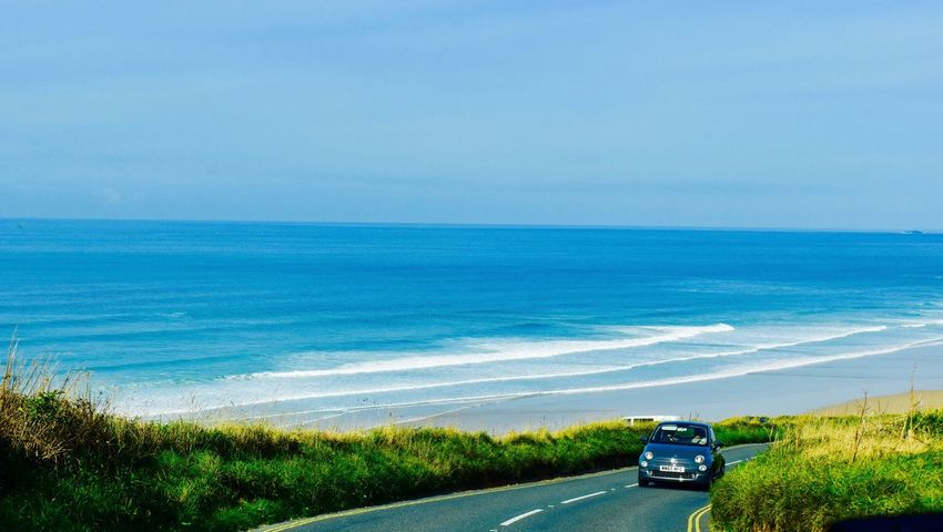 Blue Wave VW Beetle Watergate Bay Beach Beauty In Nature Cornwall Uk Landscape Sea And Sky