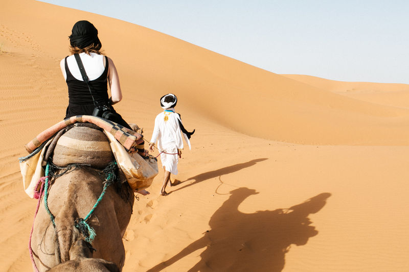 Lost in Sahar Desert - Morocco!!! EyEmNewHere Lost In The Landscape Arid Climate Camel Clear Sky Day Desert Domestic Animals Landscape Leisure Activity Mammal Nature One Animal One Person Outdoors People Real People Riding Sand Sand Dune Shadow Sky Sunlight Women Working Animal