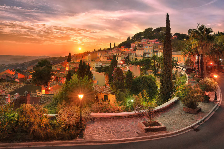 Silent sunset. The small village of Bormes-les-Mimosas, south of France Sunset Scenics Happiness Serenity Village Composition Light And Shadow Light Outdoors Travel South Of France Colors Autumn Tourist Attraction  Architecture Cityscape Sky Cloud - Sky Illuminated Orange Color Dusk Street Provence No People View Capture Tomorrow