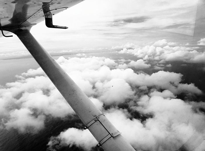 Always fly above the clouds, never below.. Philippines Blackandwhite Clouds Cottoncandyclouds Aircraft Wing Water Pilotseye Breathtaking View Aviationphotography Aviationismylife Sea Pilotsview Overhead View Beauty In Nature No People Scenics Nature Flying Airplane Sky Cessna152 Cockpit View Cloud - Sky Plane Vfr