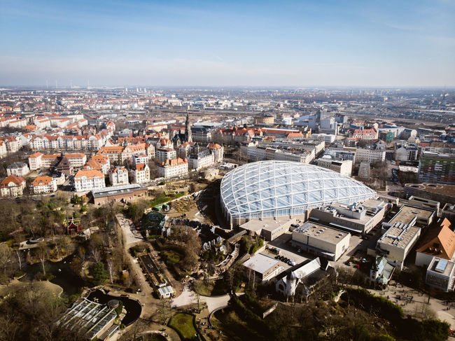 Church City DJI X Eyeem From Above  Leipzig Winter Zoo Leipzig Aerial View Architecture Blue Building Blue Sky Blue Sky Building Built Structure City Cityscape Contrast Day Dronephotography High Angle View Modern Vs Old Outdoors Residential District Triangle Shape