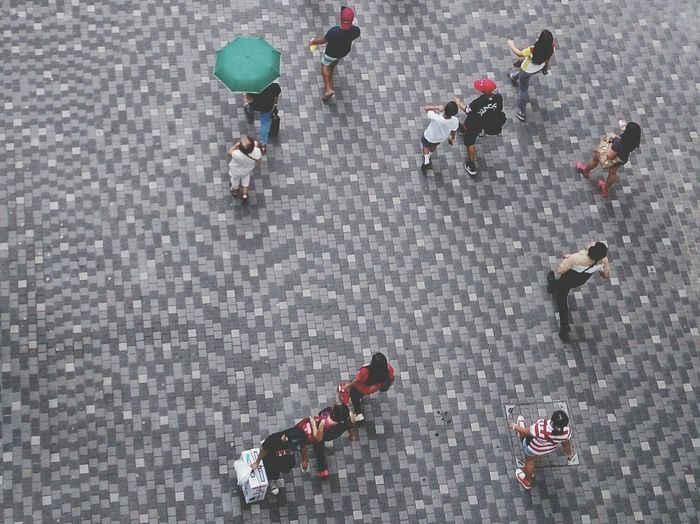 High angle view of people on road