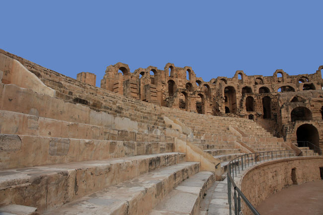 The amphitheater in El Jem, Tunisia El Jem Erosion Gladiator Abandoned Africa Amphitheater Ancient Arches Arena Arhitecture Building Exterior Built Structure Empire Famous Place Heritage History Landmark Old Ruin Roman Ruined Stone Travel Destinations Tunisia UNESCO World Heritage Site