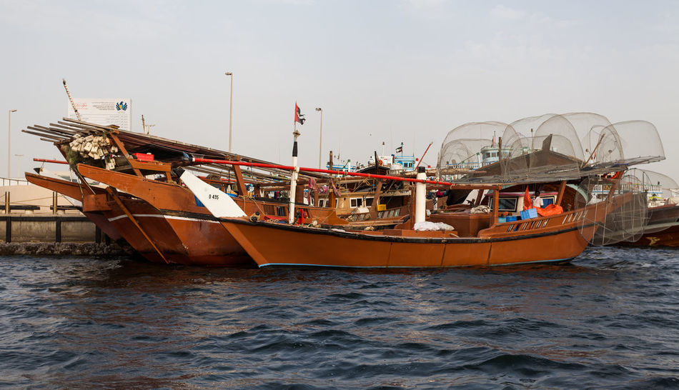 Marina Dubai Nautical Vessel Water Transportation Mode Of Transportation Sea Sky Waterfront Nature Day Travel Outdoors No People Ship Sailing Moored Clear Sky Journey Fishing Industry Fishing Boat