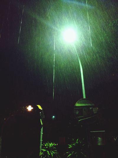 路燈下的雨花