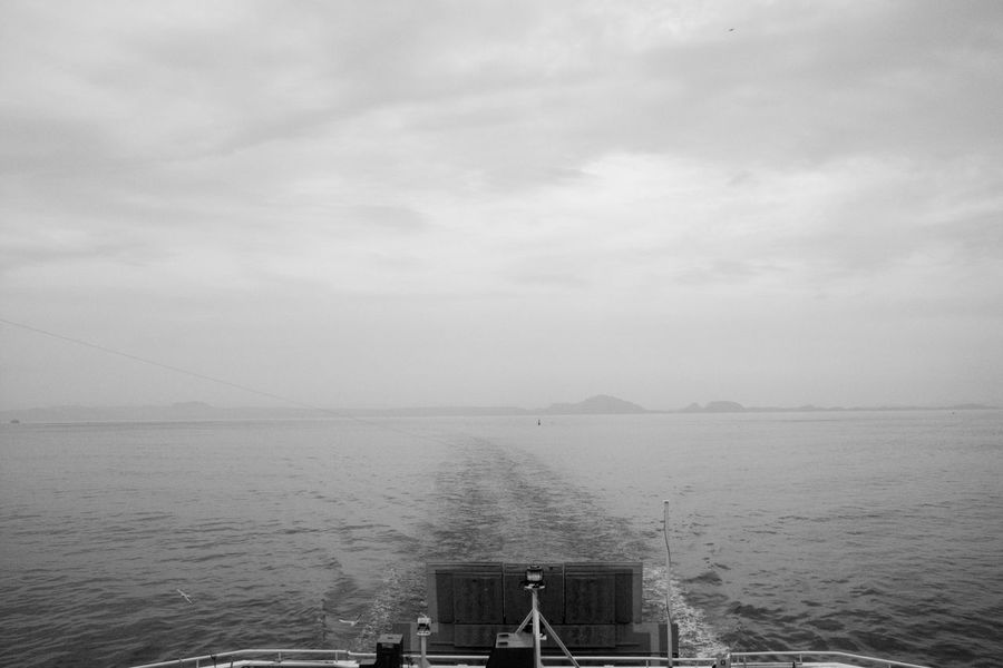 Calm Sea Ferry Views Monochrome Scenics Sea Wake - Water Sky Bird Tranquility Blackandwhite Nature Tranquil Scene Clouds And Sky Water Beauty In Nature Wind GR DIGITAL Ⅱ Ferry Travel Day Japan