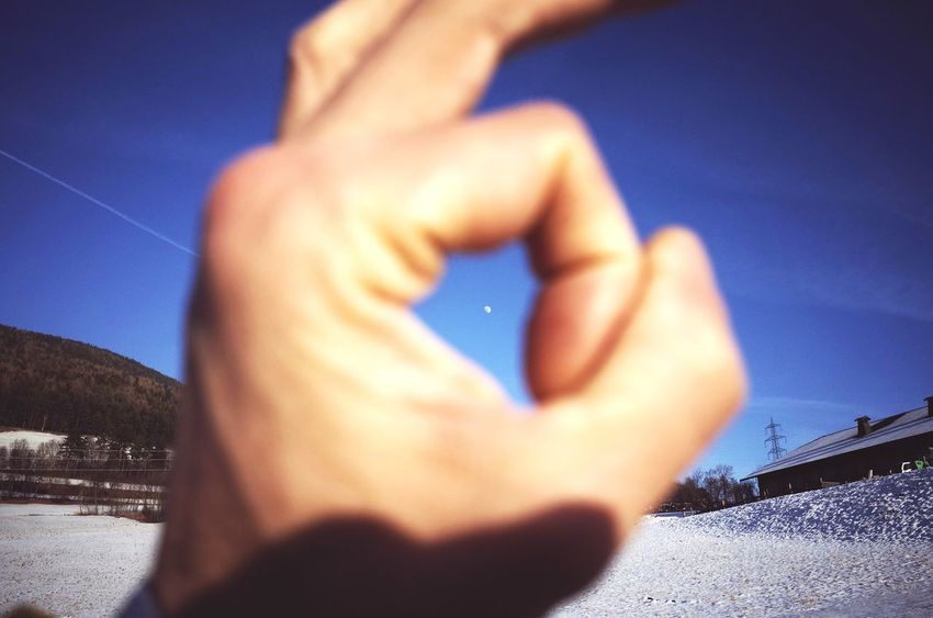 Human Hand Blue Human Body Part One Person Night Sky Motion Close-up Adults Only People Adult One Man Only Outdoors Moon Miles Away Dolomites South Tyrol Südtirol Country Living Looking Up To The Moon Frame Within A Frame