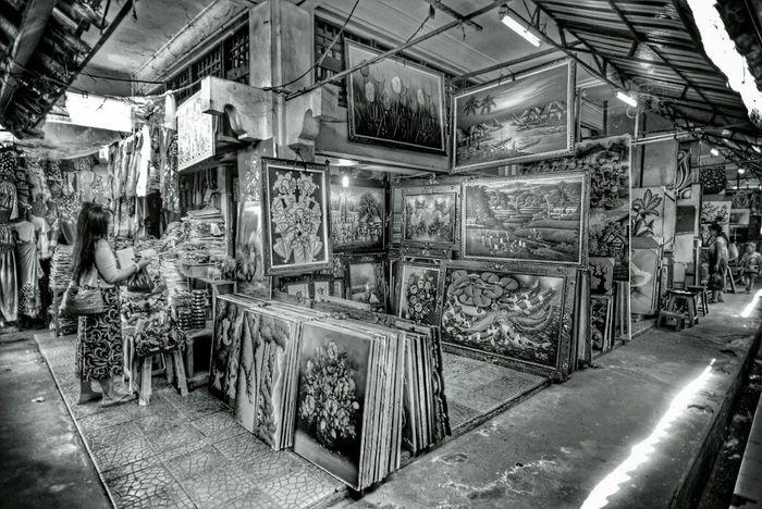 Painting corner at Sukawati Art Market Art Bali Blackandwhite Streetphotography