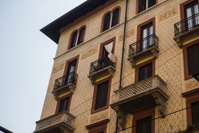 Architecture Milan Milano Architecture Balcon Balcony Building Exterior Built Structure City Clear Sky Curtain Day Italy No People Outdoors Pattern Sky Texture Tile Art Tile Pattern Window