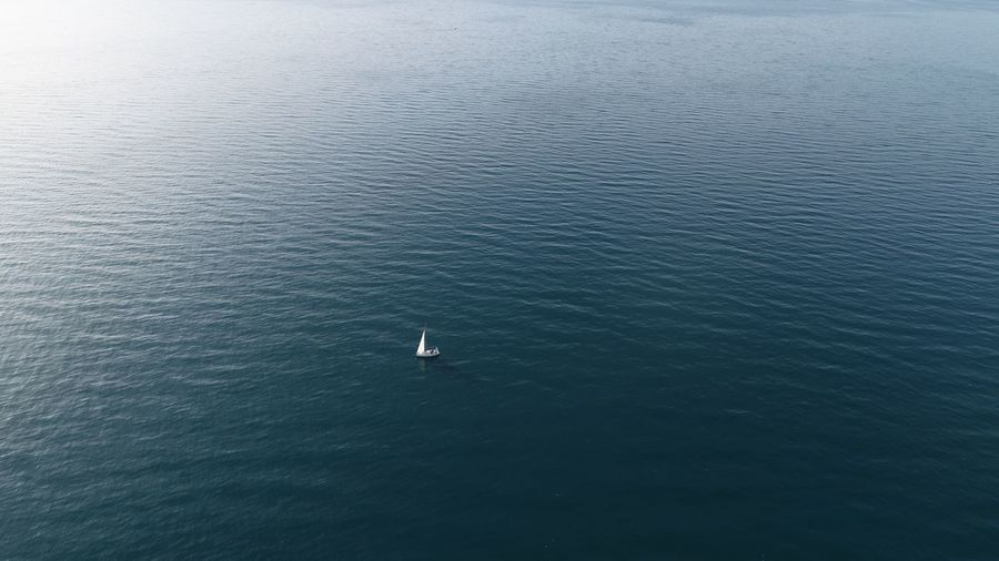 Drone view of the boat in the sea