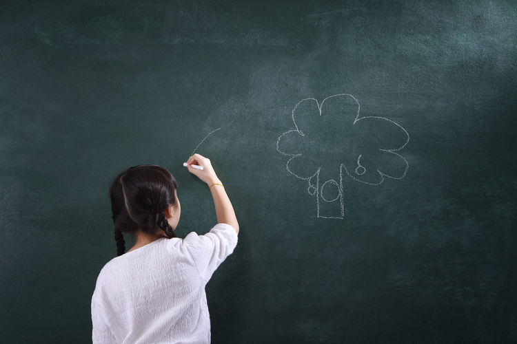real view of girl student drawing at chalkboard Blackboard  Child Childhood Children Only Classroom Day Drawing Education Elementary Age Formula Girls Human Body Part Indoors  Intelligence Learning One Person People Real People Rear View Standing Student