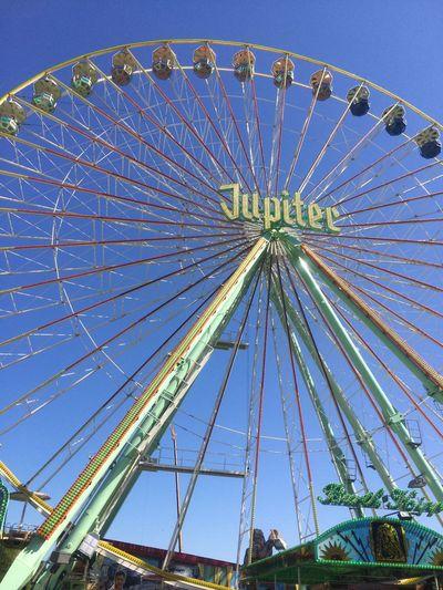 Ferris Wheel Sky Amusement Park Low Angle View Circle Large Blue No People