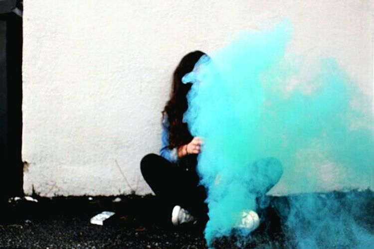 One Person Girl Smoke Blue Urban GirlSmoke Vape Outdoors Day Life Fast Young Wild And Free(; Young Girl Youngforever