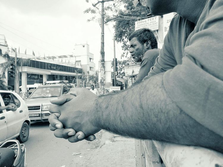 Human Body Part Human Hand Only Men Close-up Men People Togetherness Adults Only Adult Outdoors Day Community Outreach EyeEm Best Shots Urbanphotography Sadness On Road Photography Welcome To Black