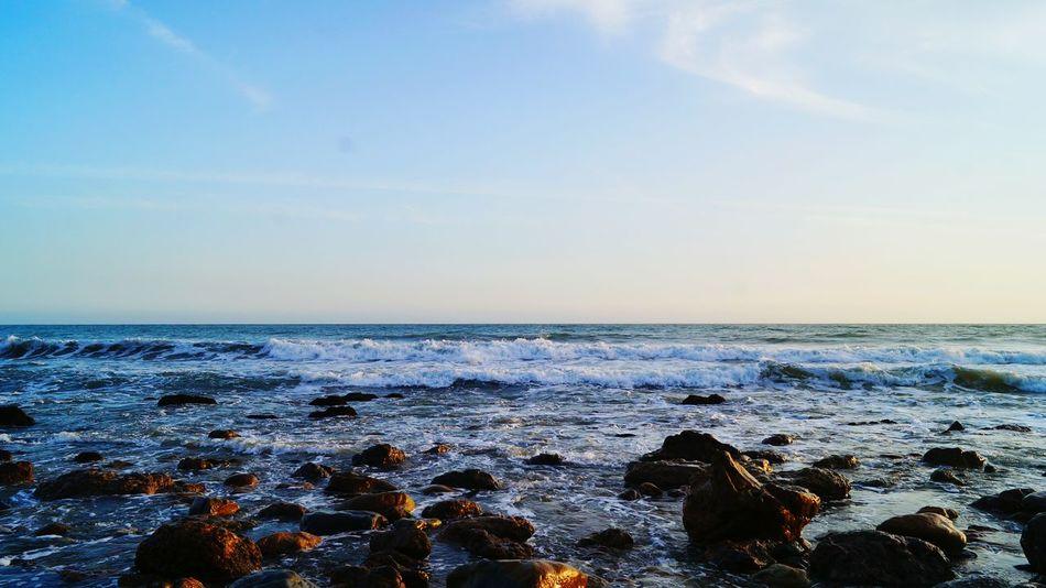 Los Angeles, California Beauty In Nature Ocean Beach Photography California Coast California Sunset High Tide Sea And Sky Seashore Sunset_collection The KIOMI Collection The KIOMI Colllection