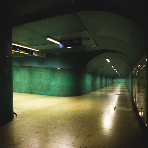 View of empty subway tunnel