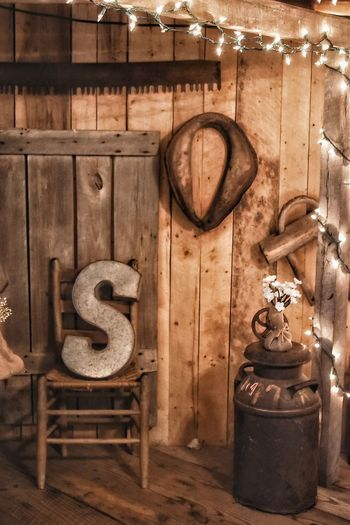 S Letter Letter S Chair Country Riral Wedding Wood Lights Milk Jug Harness