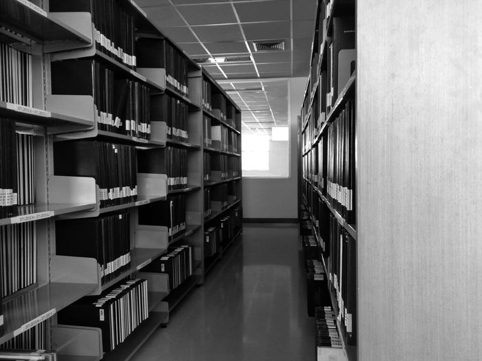 Empty corridor of library