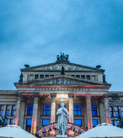 Konzerthaus Berlin Architectural Column Architecture Art And Craft Building Exterior Built Structure City Cloud - Sky Day Human Representation Konzerthaus Low Angle View Outdoors Real People Sculpture Sky Statue Travel Travel Destinations