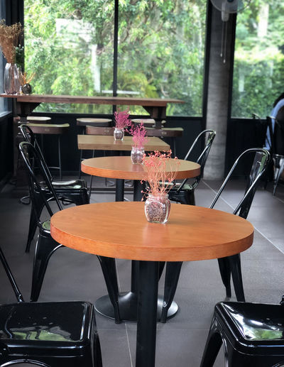wooden table in coffee shop Seat Table Chair Indoors  Glass - Material Absence Focus On Foreground Transparent Day Window No People Wood - Material Restaurant Nature Food And Drink Human Representation Sitting Plant Representation