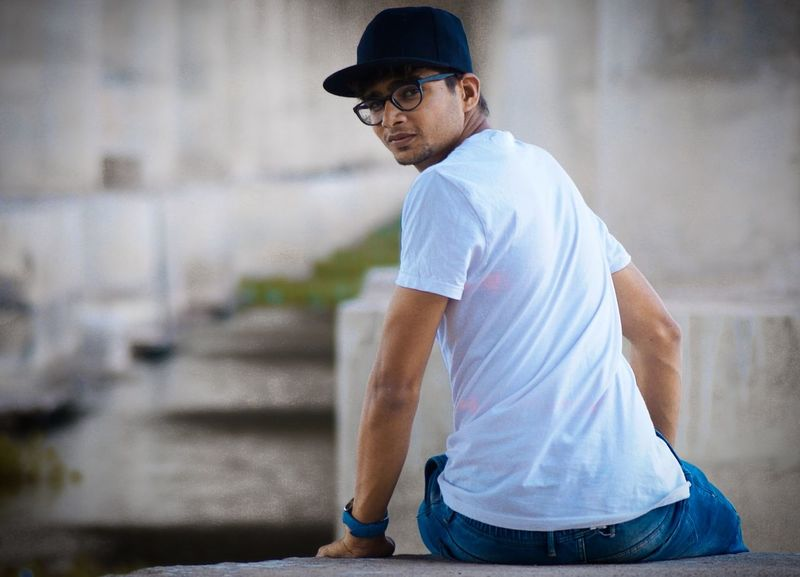 Afternoon Light Bridge Column Photoshoot Handsome White Tshirt Specs *.* Black Cap Happy Day☺