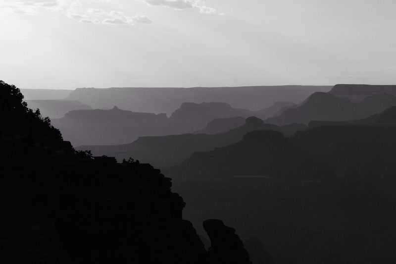 Grand Canyon in Black And White Evening Sun
