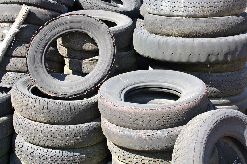 Full frame shot of abandoned tire