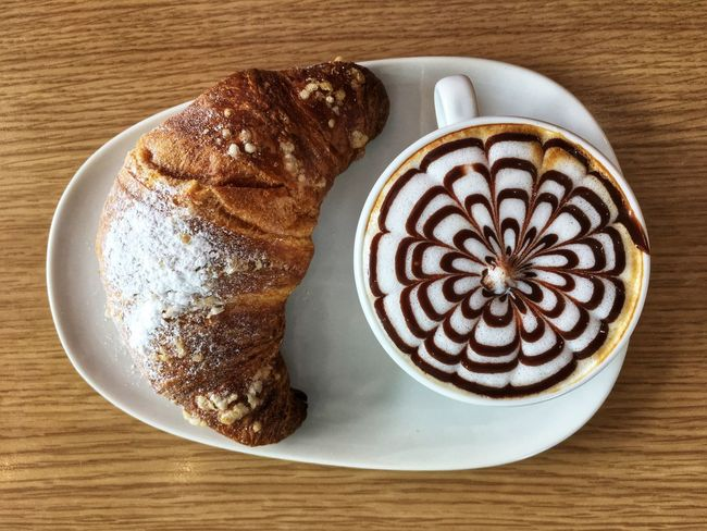 Cappuccino & brioche Italian Food Breakfast Brioche Food And Drink Coffee - Drink Coffee Cup Table Directly Above Sweet Food Food Stories High Angle View Drink Frothy Drink Cappuccino Brown Latte Close-up Food Dessert